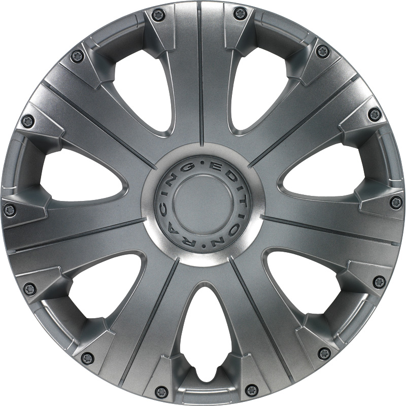 4-Delige Wieldoppenset Racing 13-inch zilver