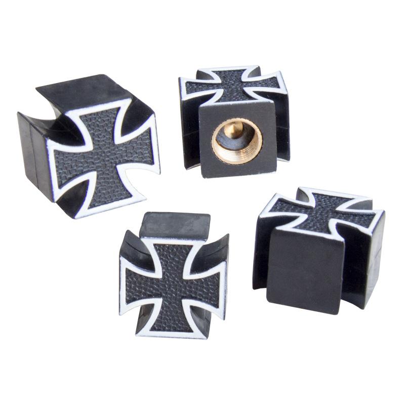 Simoni Racing Set ventielkapjes Black Cross - Zwart/Wit - 4-stuks