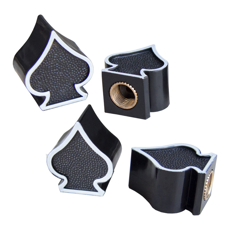 Simoni Racing Set ventielkapjes Black Spades - Zwart/Wit - 4-stuks