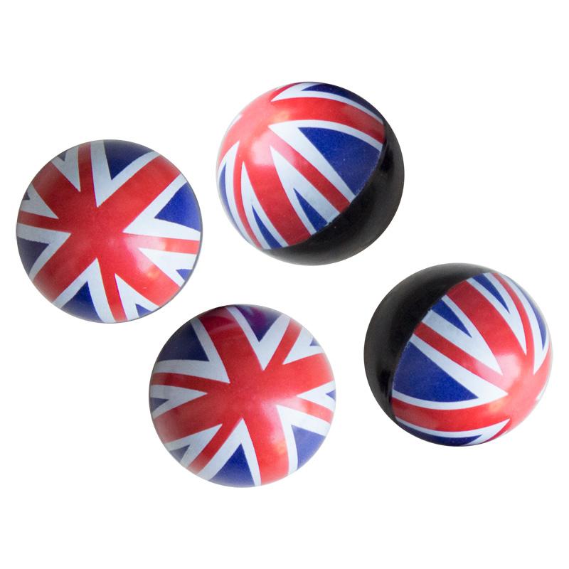 Simoni Racing Set ventielkapjes UK Flag - Wit/Blauw/Rood - 4-stuks